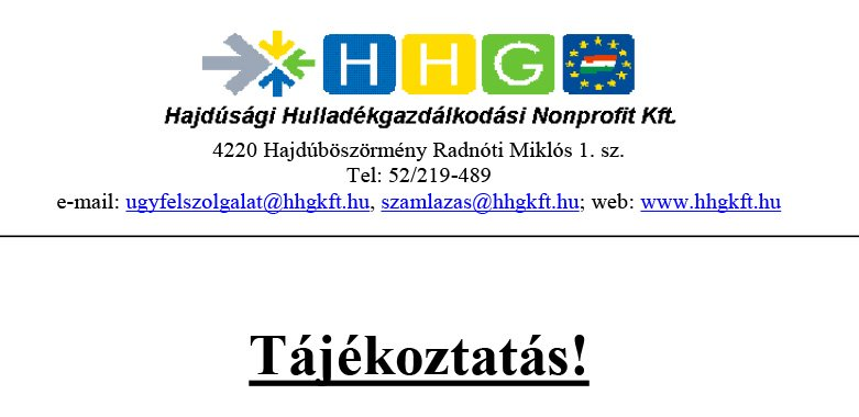 A HHG Ügyfélszolgálati tájékoztatója