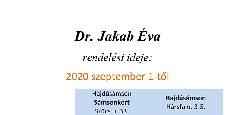 Dr. Jakab Éva – rendelési idő (házi gyermekorvos)