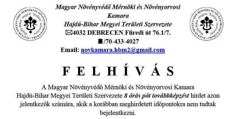 A Magyar Növényvédő Mérnöki és Növényorvosi Kamara felhívása